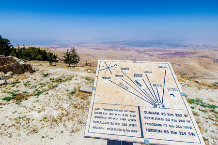 View of the  promised land and the Plaque showing the distance to various locations; Mount Nebo, Jordan.