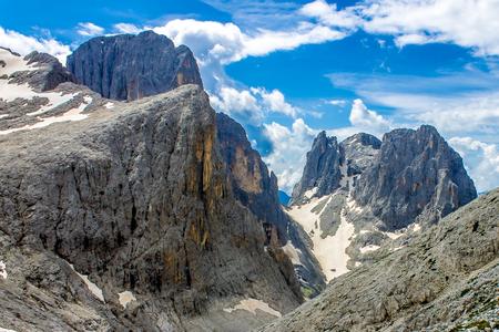 Melting glaciers in the Dolomites, Italian Alps Stock Photo