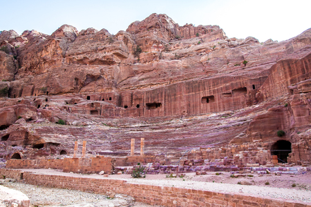 The theatre, cut into the hillside, in the ancient Petra, Jordan