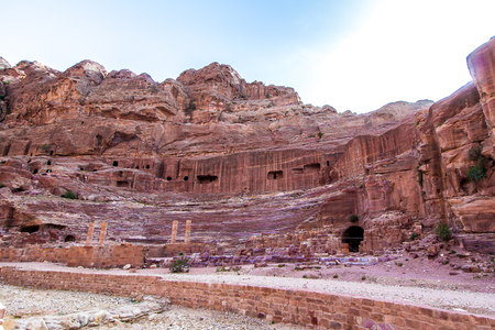 unesco: The theatre, cut into the hillside, in the ancient Petra, Jordan