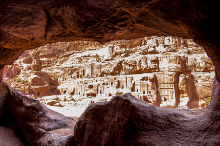 Spectacular view from a cave of ancient Petra, Jordan Stock Photo