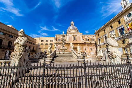 praetorian: the Praetoria Fountain with the dome of Santa Caterina in the background, in the square of Shame, Palermo, Italy Stock Photo