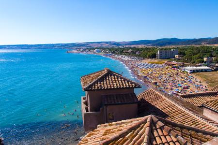 tyrrhenian: View of the beach from the Castle in Santa Severa, near Rome. Italy