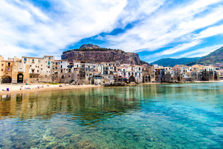 Beautiful view of cefalu, little town on the sea in Sicily, Italy Stock Photo