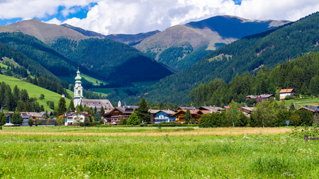 view of Toblach (Italian: Dobbiaco), little town located in the Puster Valley, Italy.
