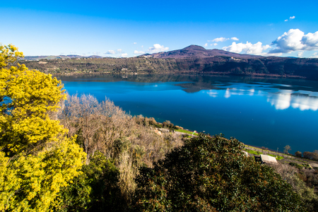 Lake Albano, a small volcanic crater lake in the Alban Hills of Lazio, near Rome, Italy