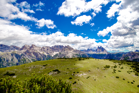 Dolomite landscape with the three peaks of lavaredo in the background, south tyrol, italy