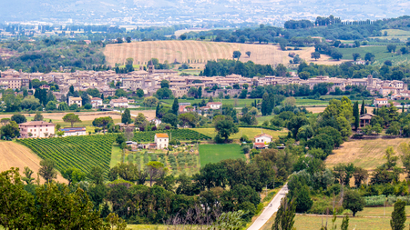 view of Bevagna, a small medieval town immersed in the Umbrian countryside, in Italy