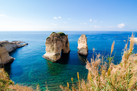 Pigeon Rocks at Raouche in Beirut, Lebanon, a 60-meter high offshore rock couple