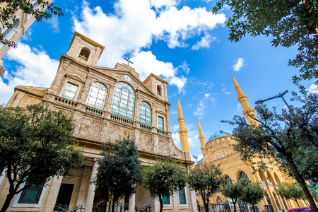 Church of Saint George Maronite and Mohammad Al-Amin Mosque coexist side by side in Downtown Beirut, Lebanon