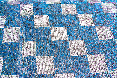 antique mosaic with white and blue squares