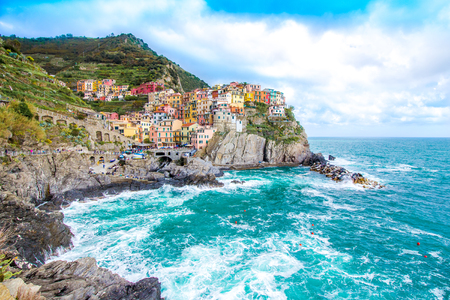 Manarola,  one of the five famous coastal village in the Cinque Terre National Park, Liguria, Italy Stock Photo