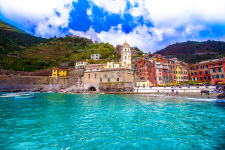 Vernazza, one of the five famous coastal village in the Cinque Terre National Park, Liguria, Italy