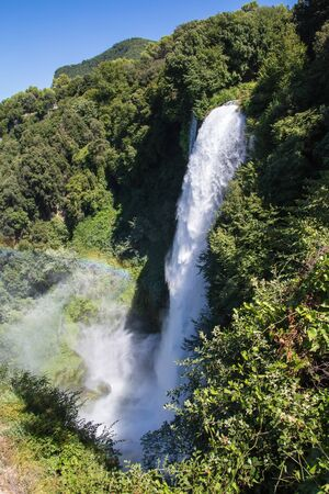 Top view of the Cascata delle Marmore, the tallest man-made waterfall in the world, Italy