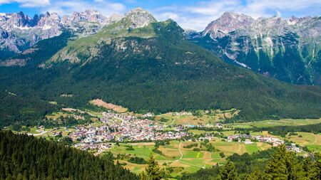 Aerial view of Andalo, turistic town in the Dolomites, Trentino, Italy