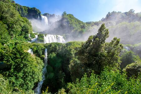 View of the Cascata delle Marmore, the tallest man-made waterfall in the world, Italy Zdjęcie Seryjne