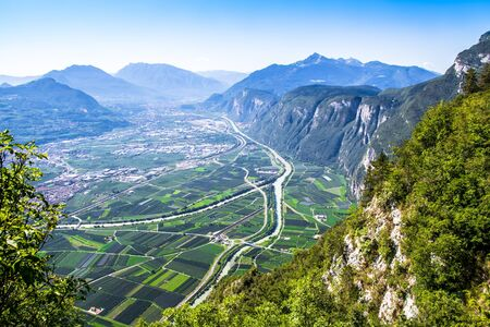 aerial view of the Val dAdige, alpine valley of the Adige river in Trentino, Italy,