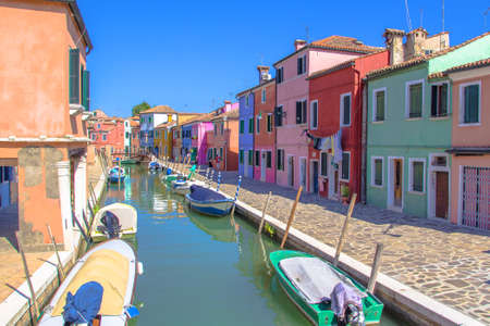 Burano, an island in the Venetian Lagoon, known for its lace work and brightly colored homes.
