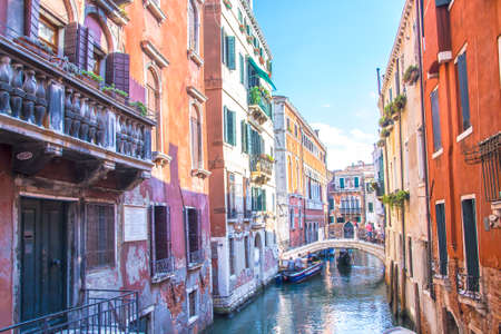 panoramic view between the canals of Venice, Italy 写真素材