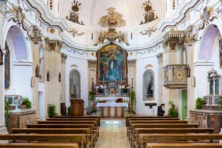 Inside the church of Maria Santissima Addolorata (Mary of Sorrows in english) on Santa Marina Salina in the island of Salina, Aeolian Islands, Sicily, Italy. Archivio Fotografico