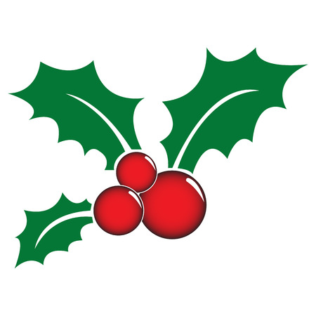 a sprig: Holly berry symbol with 3 leaves Illustration