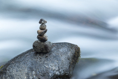 Stones in a zen position in a river in Costa Rica
