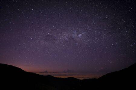 Night in San Gerardo de Dota, Costa Rica, starry sky and milky way, before dawn. Los Quetzales National Park