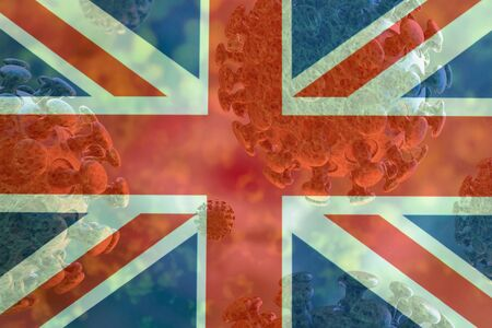 Image of the covid 19 coronavirus, with England flag superimposed. Global pandemic, contagious disease.