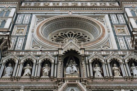 Details of Cathedral of Saint Mary of the Flower, called Cattedrale di Santa Maria del Fiore in Florence Tuscany from Uffizi Gallery. Also known Cathedral of Florence or Duomo Di Firenze.