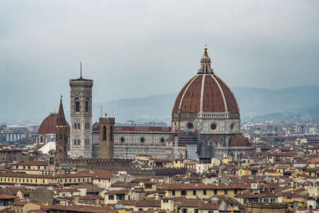 Cathedral of Saint Mary of the Flower, called Cattedrale di Santa Maria del Fiore in Florence Tuscany. Also known Cathedral of Florence or Duomo Di Firenze. Imagens
