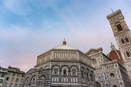 Details of Cathedral of Saint Mary of the Flower, called Cattedrale di Santa Maria del Fiore in Florence Tuscany. Also known Cathedral of Florence or Duomo Di Firenze.