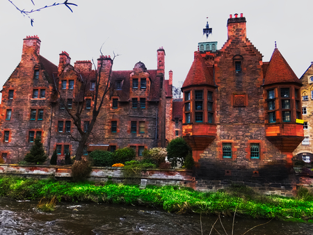 Dean village. Red houses and river, Edinburgh, Scotland
