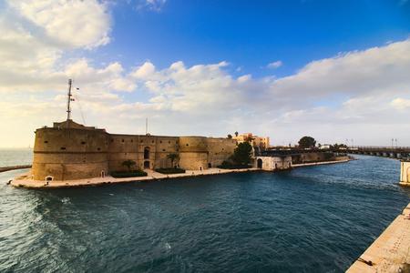 taranto old castle and revolving bridge, on sea channel