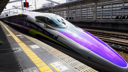 shinkansen high speed japanese train purple version