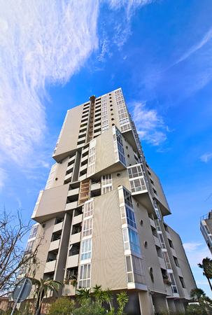 Modern building squared angled blue sky