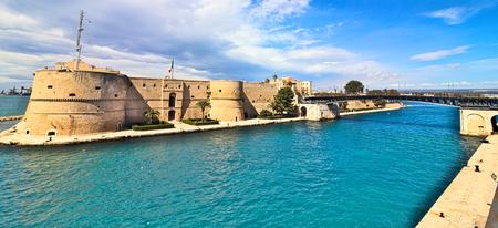 taranto old castle sea channel revolving bridge Editorial