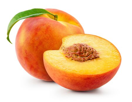 Peach isolate. Peach with slice on white background. Full depth of field.