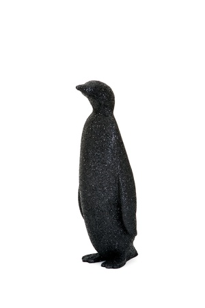 penguin lateral position in a white background with disco skin photo