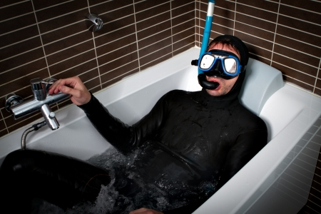 diver in a bath Stock Photo