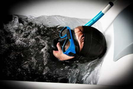 ridiculous: diver immersion Stock Photo
