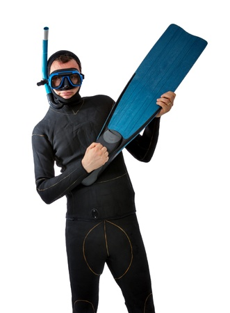 standing diver in bizarre position Stock Photo