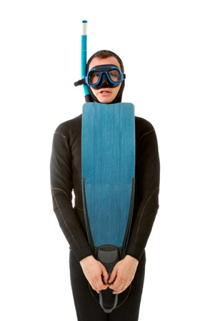portrait of a diver in white background   Stock Photo