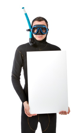 diver with a blank board Stock Photo - 15177637
