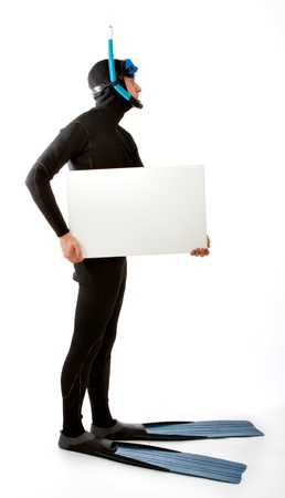 standing diver with writing space Stock Photo - 15177636