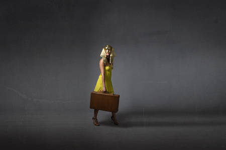 emigration concept for egyptian legend, dark background Stock Photo