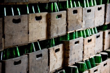 cider bottles in wooden boxes