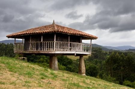 construcci�n tradicional en Asturias, Espa�a Foto de archivo