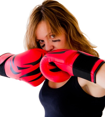woman boxer with red gloves photo
