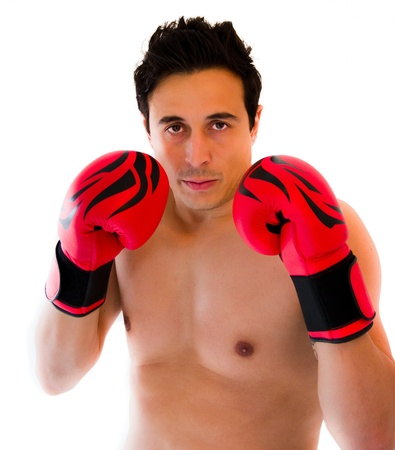 man with a boxing red gloves photo
