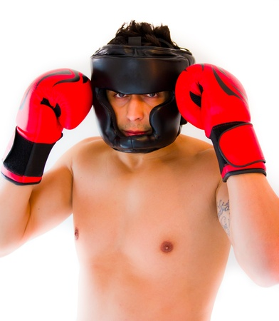 ni�o sin camisa: hombre con guantes rojos de boxeo Foto de archivo